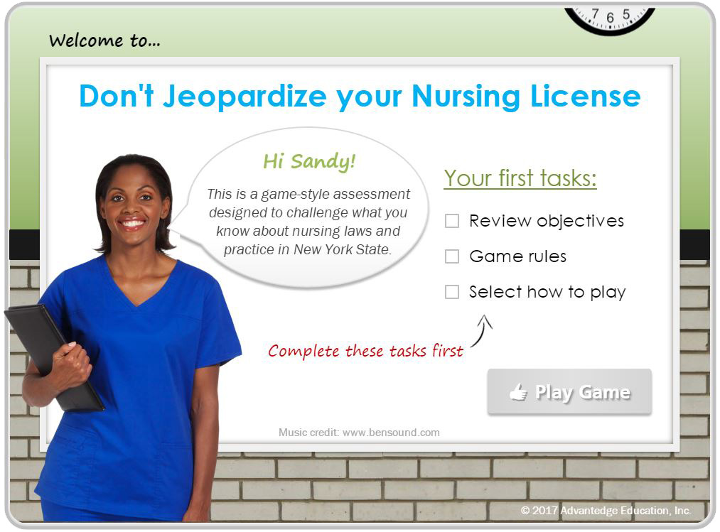 Don't Jeopardize your Nursing License. Take Advantedge Education's assessment to test what you know about nursing laws and practice in New York